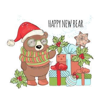 Gelukkig nieuw beer kerstbeeldverhaal
