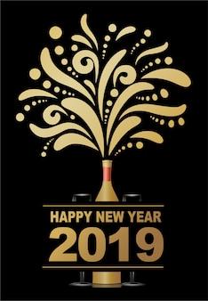 Gelukkig nieuw jaar 2019, abstract champagneontwerp.