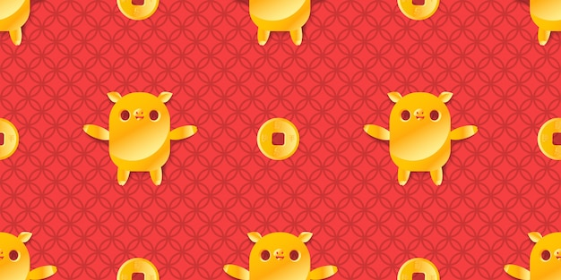 Gelukkig nieuw jaar 2019 gouden varkens en muntstukken naadloos patroon.