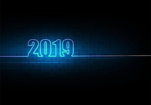 Gelukkig nieuw jaar 2019 met abstracte technologieachtergrond en futuristisch gloeiend neonlicht