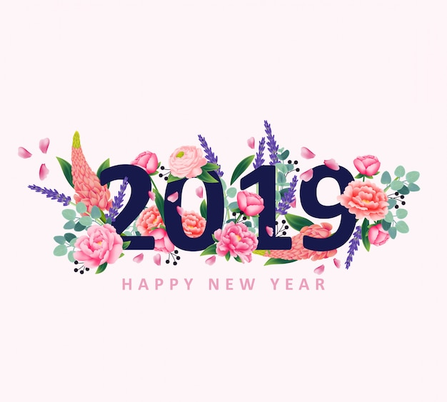 Gelukkig nieuw jaar 2019 met bloemvector