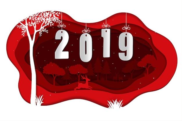 Gelukkig nieuw jaar 2019 met herten in de winter