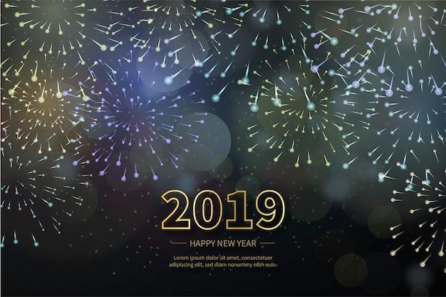Gelukkig nieuw jaar 2019 met realistische vuurwerkachtergrond