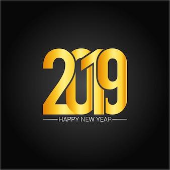 Gelukkig nieuw jaar 2019 ontwerp met donkere achtergrond