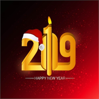 Gelukkig nieuw jaar 2019 ontwerp met rode achtergrond