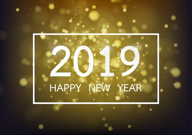 Gelukkig nieuw jaar 2019 op gouden achtergrond