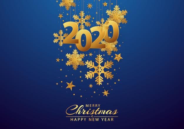 Gelukkig nieuw jaar 2020 achtergrond versierd met sneeuwvlokken en gouden