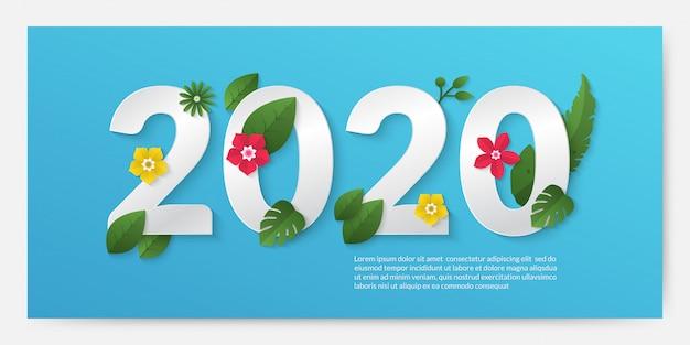 Gelukkig nieuw jaar 2020 banner in papier gesneden stijl