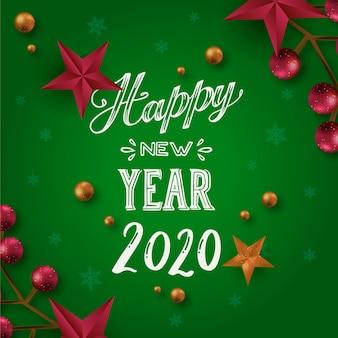 Gelukkig nieuw jaar 2020 concept met belettering