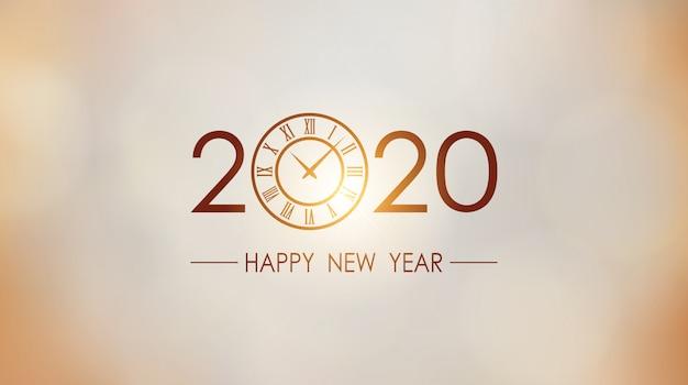 Gelukkig nieuw jaar 2020 en klok met gouden de gloedachtergrond van de zonlicht