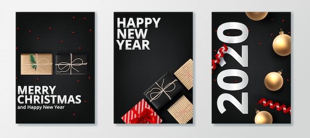 Gelukkig nieuw jaar 2020 en vrolijk kerst wenskaartenset