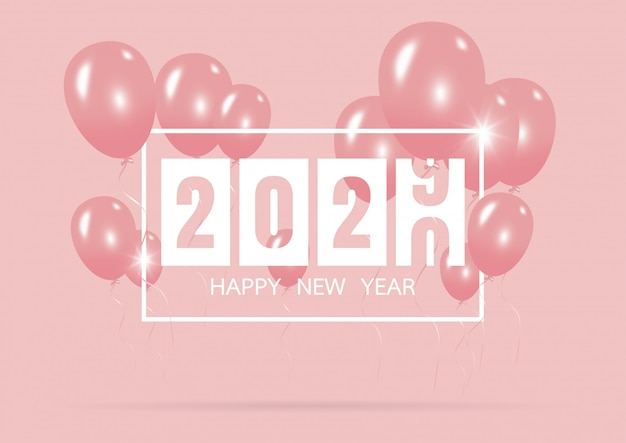 Gelukkig nieuw jaar 2020 met creatief roze ballonconcept op pastelkleurroze