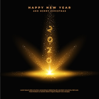 Gelukkig nieuw jaar 2020 met gouden glinsterende stofstaarten, wenskaart