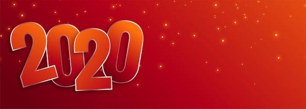 Gelukkig nieuw jaar 2020 viering brede banner