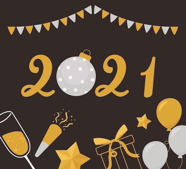 Gelukkig nieuw jaar 2021, ballonnen cadeau ster wimpels decoratie vectorillustratie