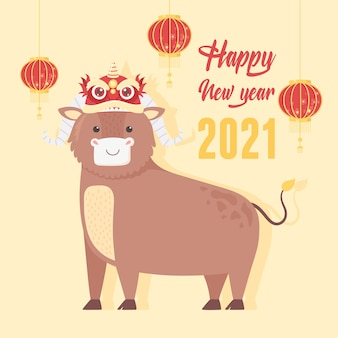 Gelukkig nieuw jaar 2021 chinees, cartoon os met decoratie op hoofd en lantaarns illustratie