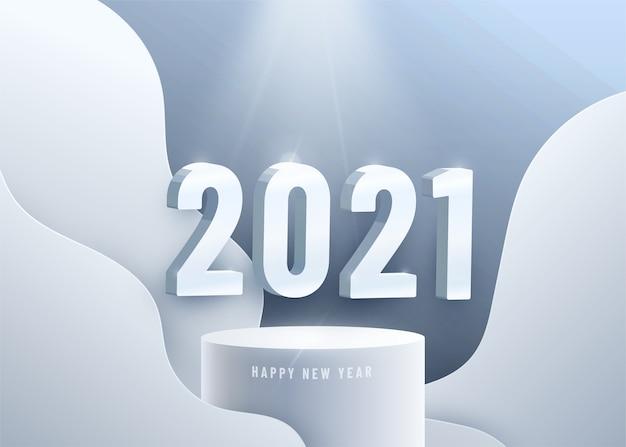 Gelukkig nieuw jaar 2021. grote 3d nummers op cirkelvormig podium