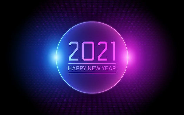 Gelukkig nieuw jaar 2021 in cirkel neonlicht kleur achtergrond