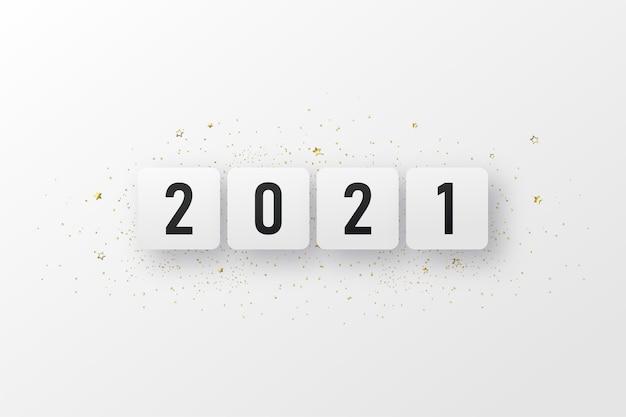 Gelukkig nieuw jaar 2021 met cijfers op het witte vak.