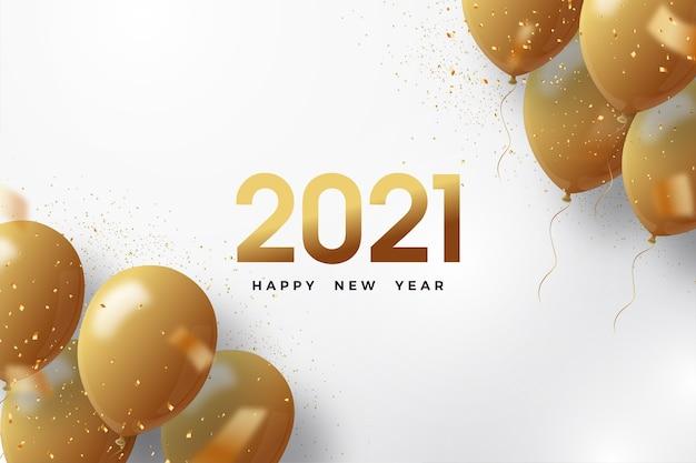 Gelukkig nieuw jaar 2021 met gouden cijfers en gouden ballonnen.