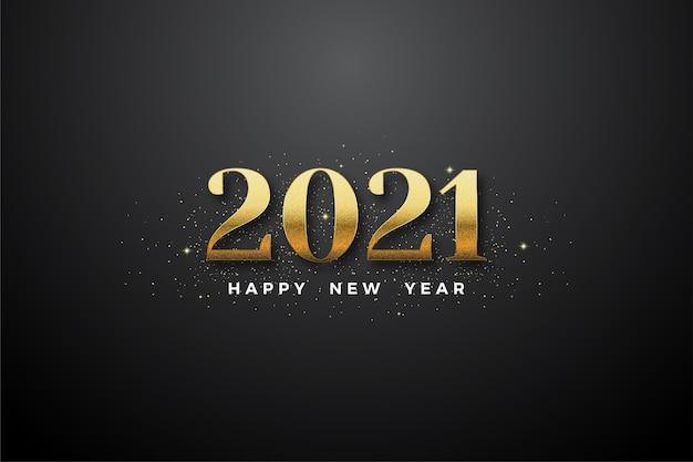 Gelukkig nieuw jaar 2021 met gouden cijfers en gouden glitter.