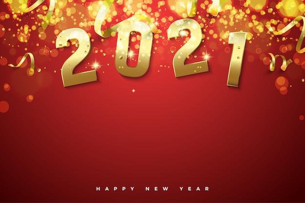 Gelukkig nieuw jaar 2021 met gouden cijfers en gouden licht.