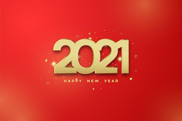 Gelukkig nieuw jaar 2021 met gouden cijfers op een rode achtergrond.