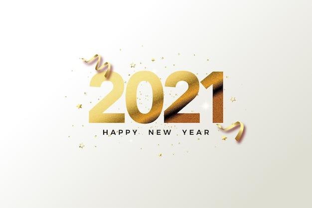 Gelukkig nieuw jaar 2021 met gouden cijfers op wit papier.