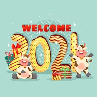 Gelukkig nieuw jaar 2021 met het glimlachen van anthuriumkarakter
