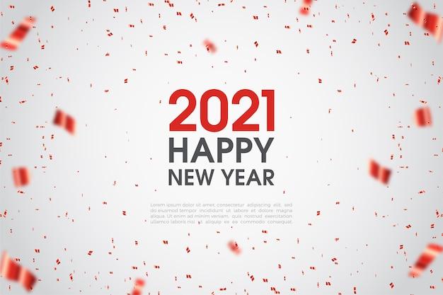 Gelukkig nieuw jaar 2021 met rode cijfers.