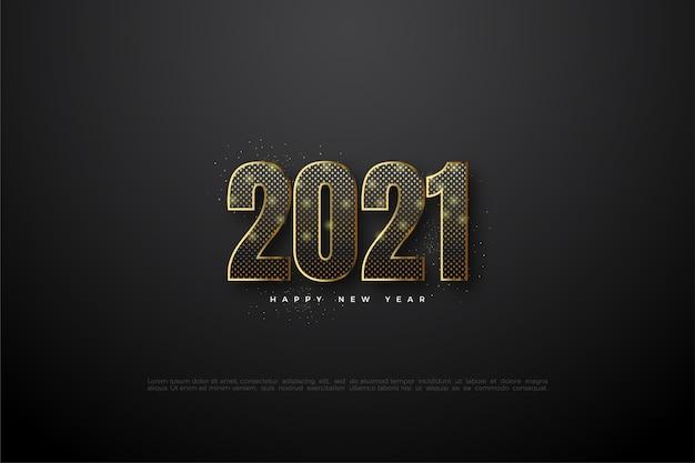 Gelukkig nieuw jaar 2021 met zwarte cijfers met gouden lichten.