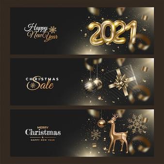 Gelukkig nieuw jaar 2021. realistische set kerstverkoop banners met gouden herten, geschenken, linten, klatergoud, confetti, kerstballen