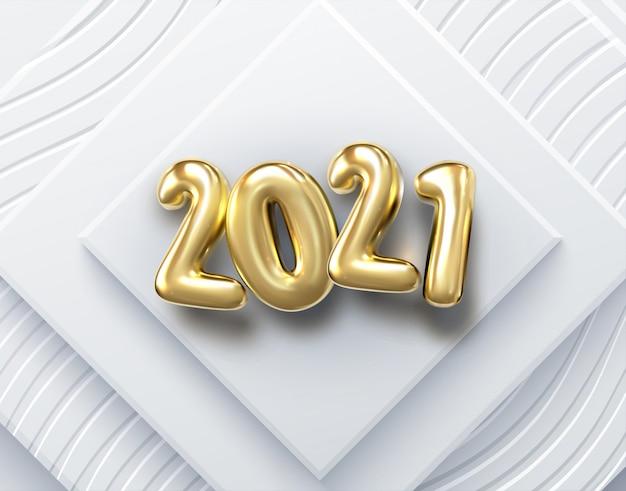 Gelukkig nieuw jaar 2021. vakantie illustratie. papier 3d-nummers op witte abstracte achtergrond. feestelijke banner. geometrische driehoeksvormen en bollen.