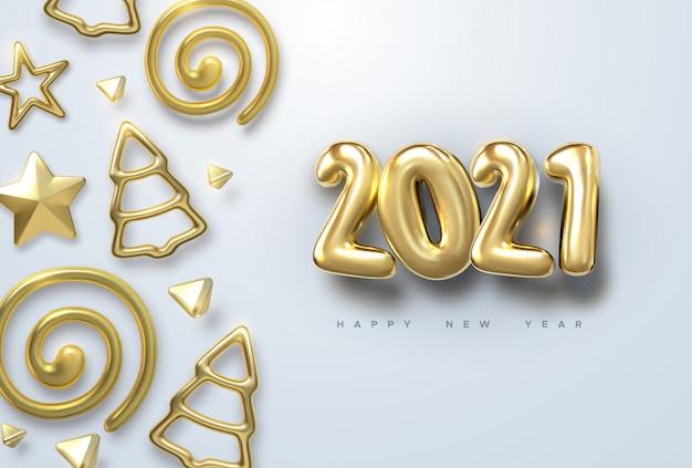 Gelukkig nieuw jaar 2021. vakantie illustratie van gouden metalen nummers 2021 met kerstballen, sterren