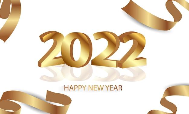 Gelukkig nieuw jaar 2022 elegante gouden tekst