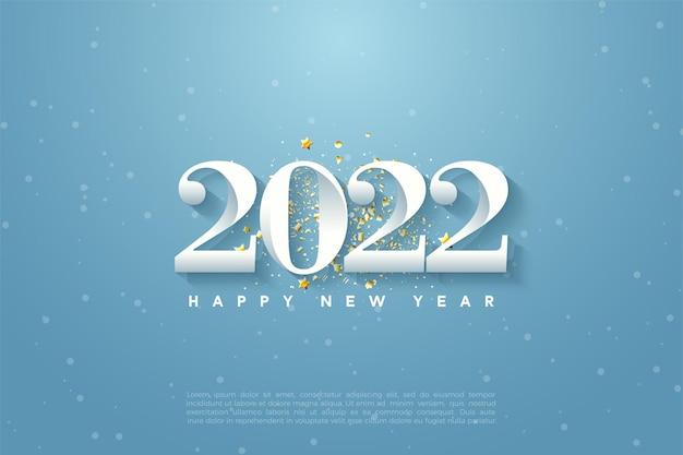 Gelukkig nieuw jaar 2022 met blauwe hemelillustratie als achtergrond