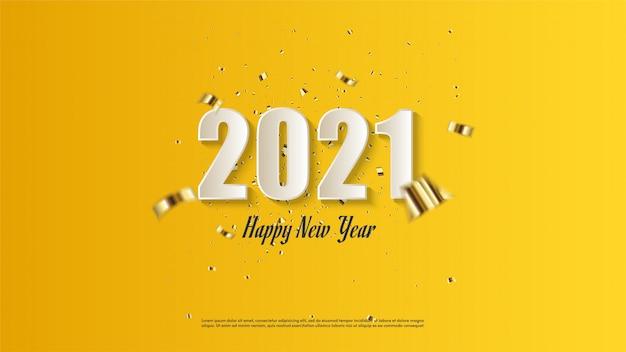 Gelukkig nieuw jaar als achtergrond in wit op een gele achtergrond.