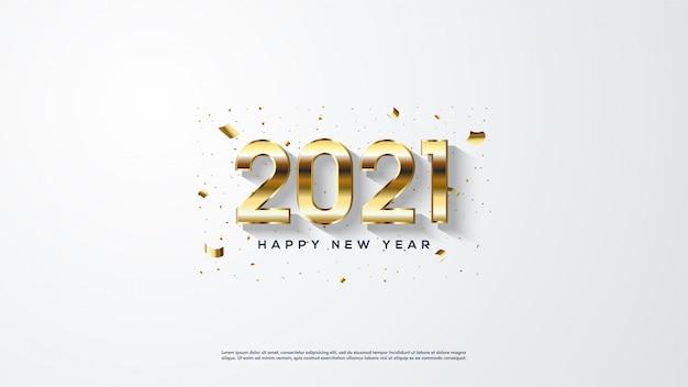Gelukkig nieuw jaar gouden achtergrondkleur met een witte achtergrond.