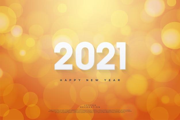 Gelukkig nieuw jaar met oranje bokehachtergrond.