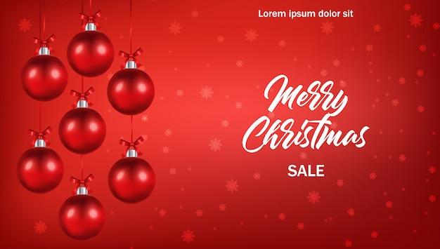 Gelukkig nieuw jaar, vrolijk kerstfeest, hallo winter, realistische kerstbal, winkel nu, verkoopbanner, rode bal geïsoleerde illustratie