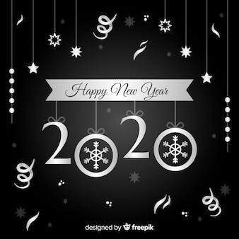 Gelukkig nieuw jaarconcept met zilveren ontwerp