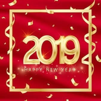 Gelukkig nieuw jaarontwerp 2019 3d gouden vectorillustratie