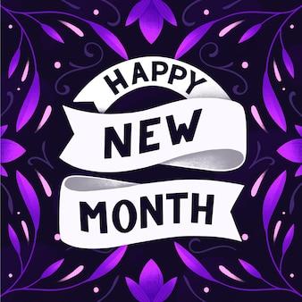Gelukkig nieuwe maand belettering met verschillende elementen