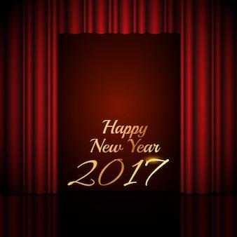 Gelukkig nieuwjaar 2017 achtergrond met open rode gordijnen van het theater