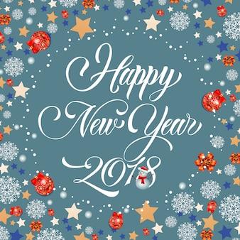 Gelukkig nieuwjaar 2018 belettering, sneeuwpop