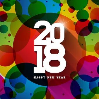 Gelukkig nieuwjaar 2018 illustratie op glanzende kleurrijke achtergrond met typografie design