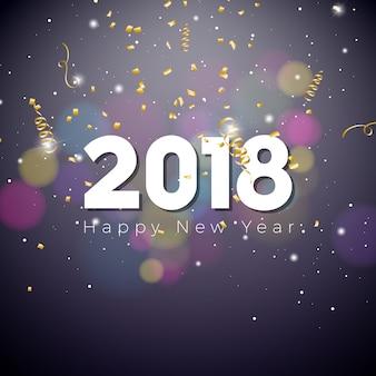 Gelukkig nieuwjaar 2018 illustratie op glimmende verlichting blauwe achtergrond met typografie.