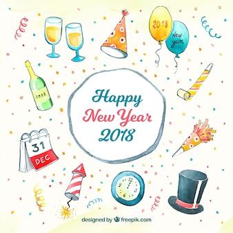 Gelukkig nieuwjaar 2018 in aquarel