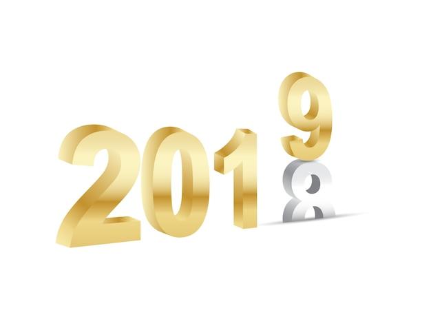 Gelukkig nieuwjaar 2019 3d gouden nummers