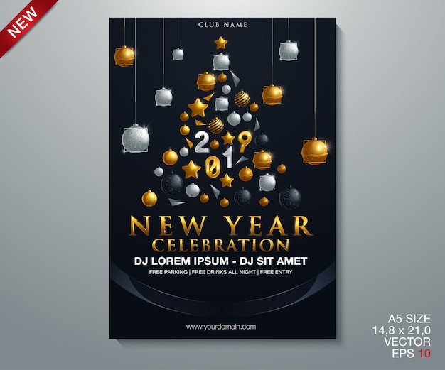 Gelukkig nieuwjaar 2019 gouden en zwarte collors